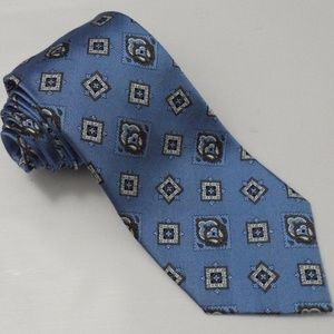 Mens Paul Fredrick 100% Imported Silk Tie Blue Orn
